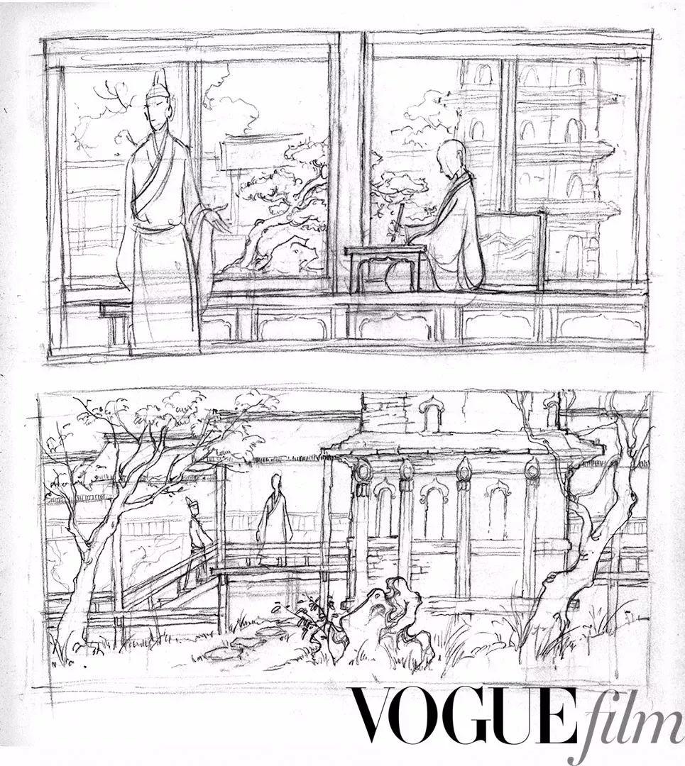 唐长安西明寺草图(铅笔手绘)